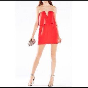 BCBGMAXAZRIA Kate Red Strapless Mini Dress